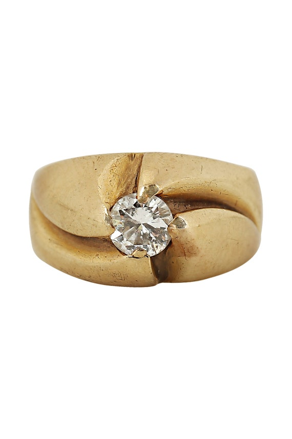 Diamond Solitaire Yellow Gold Ring - image 1