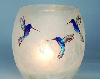 Hummingbird tealight candle holder - sweet hand painted humming birds on natural cream strawsik glass - by Karen Keir