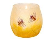 Cute bee candle holder - hand painted bees set on a honey coloured, strawsilk background - handmade in Devon by Karen Keir