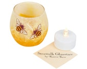 Cute bee candle holder - hand painted bees set on honey coloured, strawsilk background - includes LED battery tealight - handmade in Devon