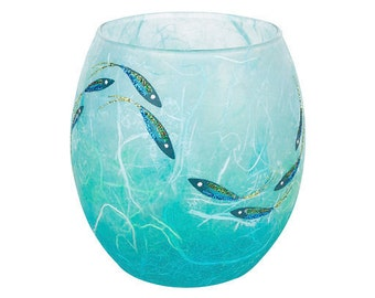 Fish candle holder - beautiful shimmering fish hand painted on aqua and turquoise strawsilk glass - made by Karen Keir in Devon