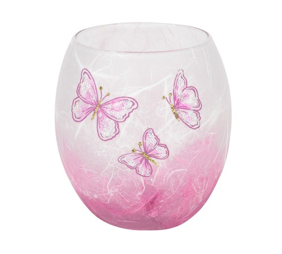 Superb Pink Glowpot Candle Holder With Butterflies Pink Sparkly Butterflies On Strawsilk Glass By Karen Keir Handmade In Devon Gmtry Best Dining Table And Chair Ideas Images Gmtryco