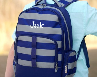 Grey and Navy Preppy Stripe Boys Personalized or Monogrammed Backpack 938d9d3133903
