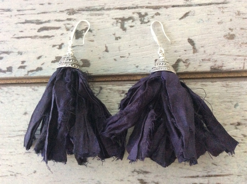 recycled sari silk handmade earrings deep eggplant  tassel earrings sterling silver plated  fringe Indonesian hippie eclectic jewelry