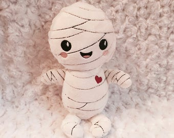Mummy Soft Toy, Halloween softie, Plush Mummy, Happy halloween stuffy, Alternative soft toys, Funky kids gift, Goth baby, day of the dead
