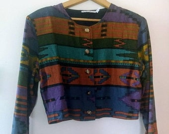 sale: Vintage 80s ikat patterned crop jacket