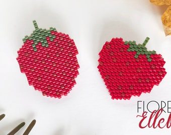PIN brooch red Strawberry (set of two)