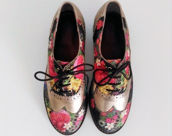 Womens Oxford Shoes- flat shoes-custom shoes-oxford shoes women-handmade shoes-oxford shoes women-womens shoes-leather shoes-floral shoes