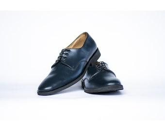 Homme Fait à la main Chaussures sur mesure Noir Grain cuir Oxford Richelieu à bout d/'aile Derby Boot