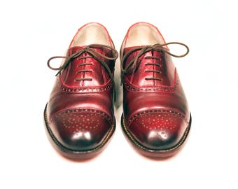 Oxford shoes-scarlet color-leather shoes-oxford brogues-custom shoes-handmade shoes-goodyear welted-shoes-womens oxfords-mens shoes-