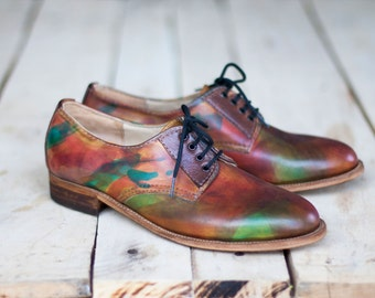 Handmade Derby shoes- Leather shoes-Handmade shoes- brogues-womens brogues-tie shoes-women shoes-men shoes-leather-hand painted-brogues