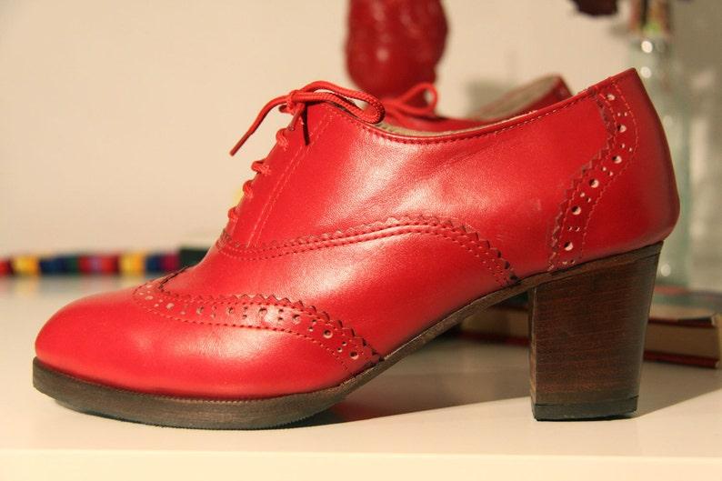 3591d1d36a640a Rot Oxford Stiefel-Damen Stiefel-rote Schuhe-Fersen-Leder