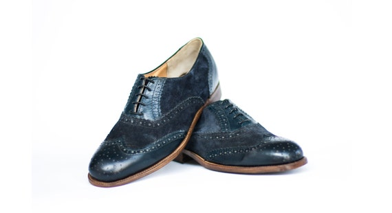 men and women Blue Navy Leather shoes