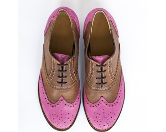 Women Oxfords -Womens oxford shoes- Wingtips- Oxford Shoes-custom shoes-leather shoes-handmade shoes-women shoes-brogues-pink shoes