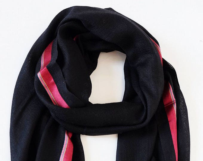 Gompa Black - wool shot with colorful silk stripes