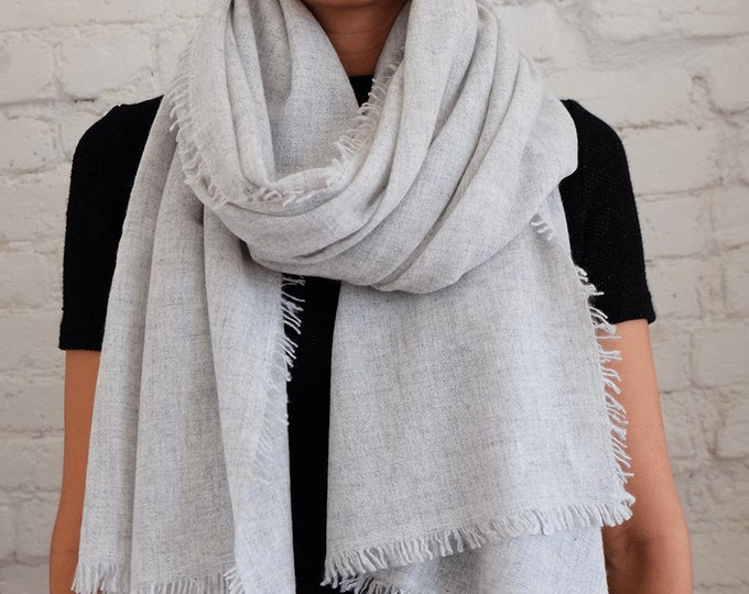 Luxurious, organic soft and cozy cashmere shawl,  light and airy - Silver