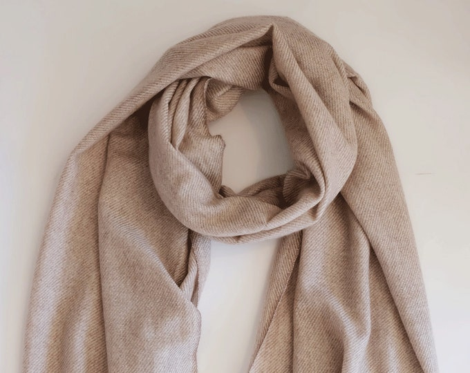 Perfect cashmere scarf, soft and cozy, natural un dyed wool coloured,  light weight.