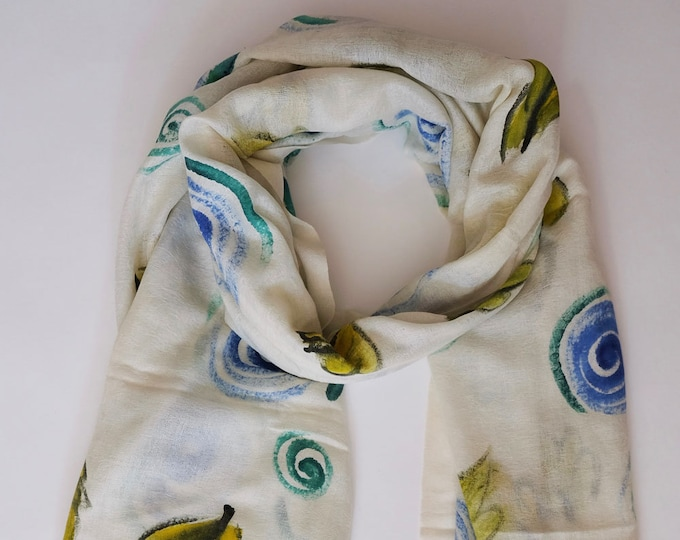 Art  Scarf, hand painted wool scarf