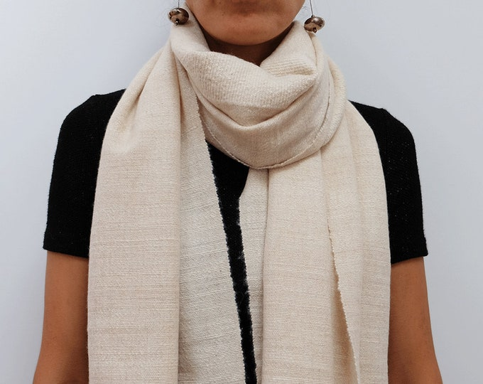 Luxurious, thick and cozy cream shawl, hand spun and hand loomed natural cashmere