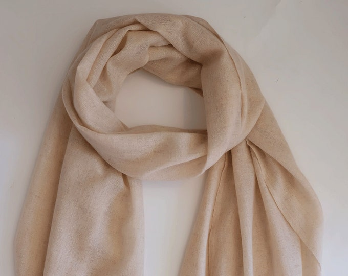 Perfect cashmere scarf, soft and cozy, cream coloured,  light weight.