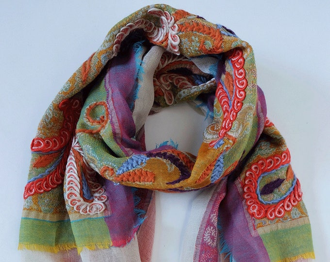 Bohemia - triple layered wool shawl with embroidery, Multi colored