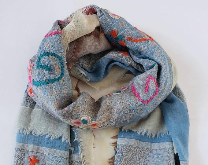 Bohemia - triple layered wool shawl with embroidery, Sky