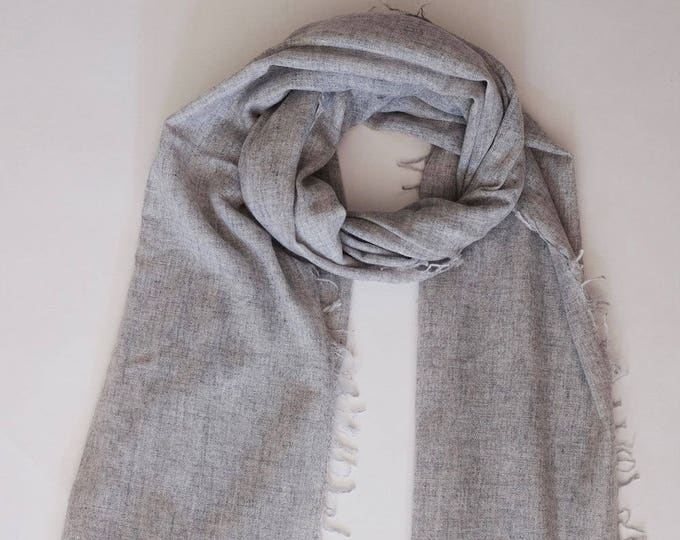 Luxurious, soft and cozy grey cashmere scarf,  densely woven.