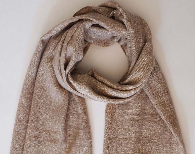 Luxurious, thick and cozy taupe shawl, hand spun and hand loomed natural cashmere