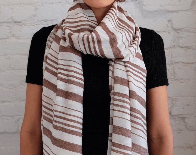 Moderni- Silk and wool striped scarf - desert