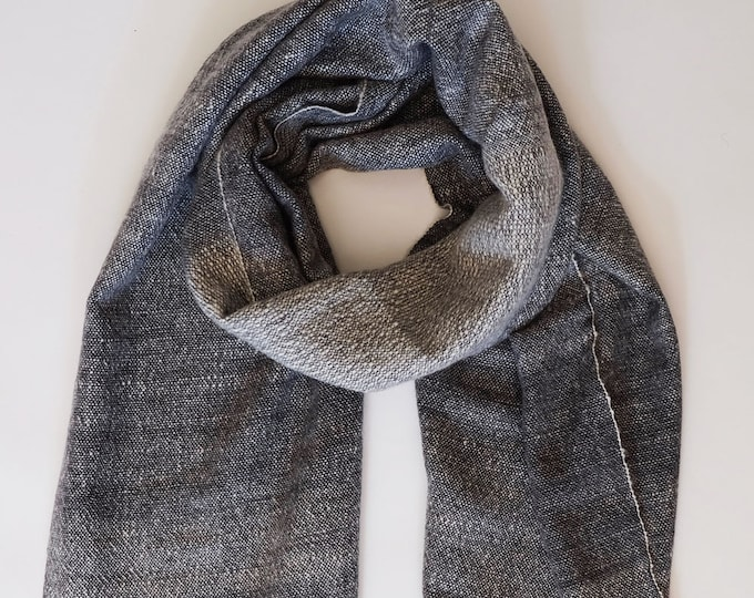 Luxurious, thick and cozy grey shawl, hand spun and hand loomed natural cashmere
