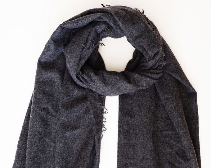 Luxurious, soft and cozy dark grey cashmere scarf,  densely woven.