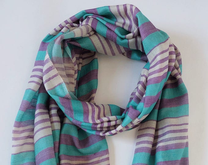 Moderni- Silk and wool striped scarf - Lilac