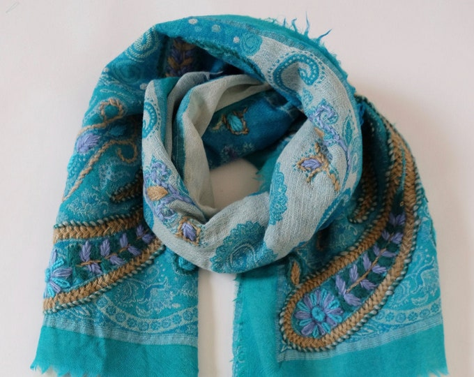 Bohemia - triple layered wool shawl with embroidery, Turquoise