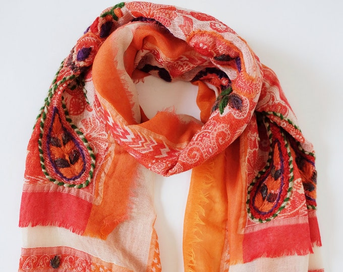 Bohemia - triple layered wool shawl with embroidery, Tangerine