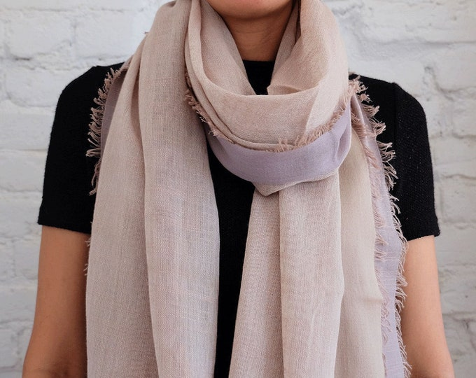 Bamboo cotton scarf with satin border - Gold