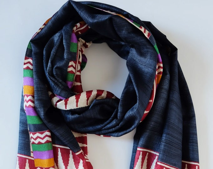 Printed Mutka Silk Shawl - Paisley