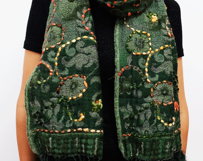 Bohemia - wool shawl with embroidery and rabbit fur trim and border - Forest