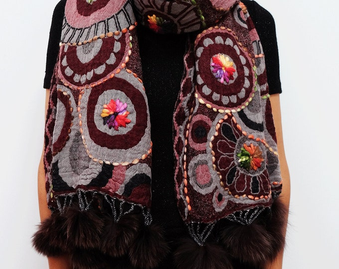 Bohemia - wool shawl with embroidery and rabbit fur trim and border - Circles