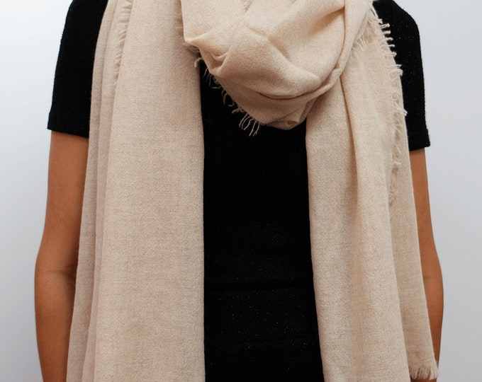 Luxurious, organic soft and cozy cashmere shawl,  light and airy - Cream