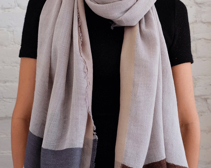 Bamboo cotton scarf with satin border - Natural