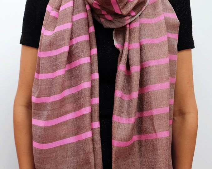 Moderni- Silk and wool striped scarf - Candy