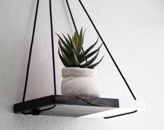 Hanging Shelf / 1 MINI Two Tone Shelf   Hanging Shelves - Floating Shelves - Dip Dyed Shelf - Wood Shelf - Plant Shelf