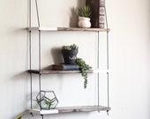 TRIO Two Tone Shelf | Hanging Shelf - Hanging Shelves - Three Tiered Shelf - Wall Shelf - Wood Shelf Dip Dyed-Plant Shelf-Pot Shelf