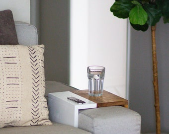 WIDE Two Tone Sofa Tray | Sofa Tray Table - Arm Rest Table-  Sofa Table  - Arm Tray - Tray Table - Couch Arm Table - Leather - Couch Tray