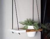 Hanging Shelf / 1 MINI POTTED Two Tone Shelf   Hanging Shelves - Plant Shelf - Wall Planter - Pot Shelf - Swing Shelf - Triangle Shelf