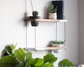 DUO POTTED Two Tone Shelf   Hanging Shelf - Two Tiered Shelf  - Pot Shelf - Hanging Shelves - Wall Shelf - Wood Shelf - Plant Shelf