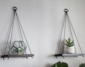 Hanging Shelves / 2 MINI Shelves   Hanging Shelf - Wood Shelf - Rustic Shelf - Swing Shelf - Rope Shelf - Plant Shelf