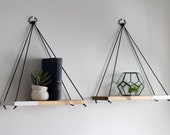Hanging Shelves / 2 REGULAR Two Tone Shelves | Hanging Shelf - Floating Shelves - Swing Shelf - Rope Shelf - Plant Shelf - Wood Shelf