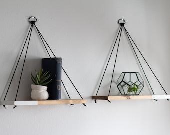 Hanging Shelves / 2 REGULAR Two Tone Shelves   Hanging Shelf - Floating Shelves - Swing Shelf - Rope Shelf - Plant Shelf - Wood Shelf