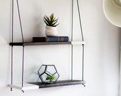 DUO Two Tone Shelf | Hanging Shelf - Hanging Shelves - Two Tiered Shelf -  Wall Shelf - Wood Shelf Dip Dyed- Plant Shelf